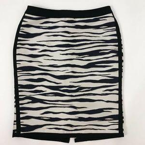 Ann Taylor Pencil Skirt White Zebra Print Sz 4